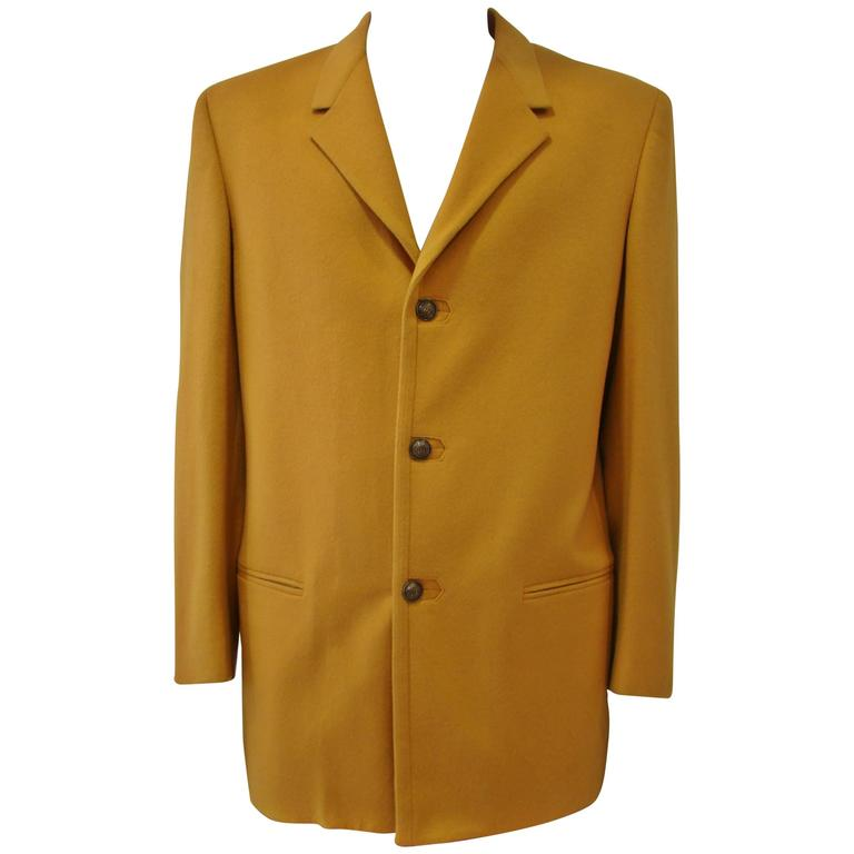 Rare Gianni Versace Mustard Wool Jacket For Sale