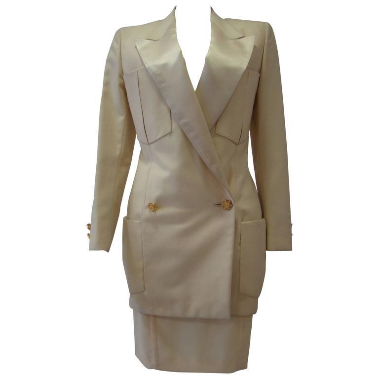 Unique Gianni Versace Couture Tuxedo Skirt Suit