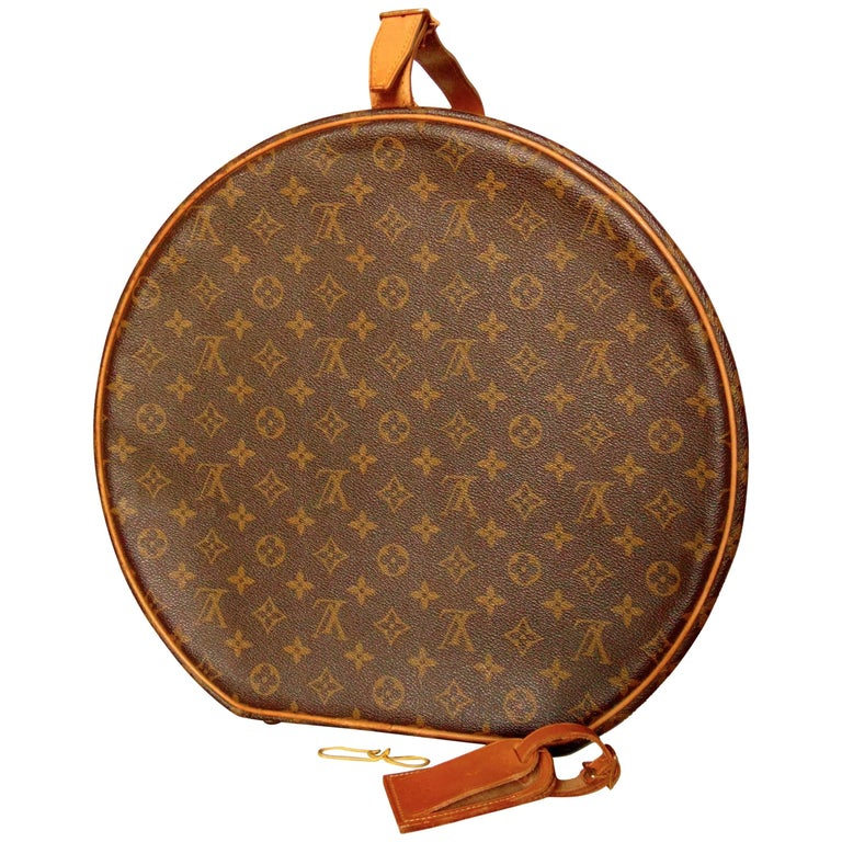 6e219acb59a Louis Vuitton Monogram Round Hat Box Boite Chapeau Travel Case + ID Tag  40cm 80s For