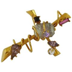 Christian Lacroix Vintage Jewelled Wired Cross Pendant Brooch