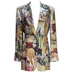 1980-1985s  Hermes 'Les Cheyennes' Silk Long Vest by Kermitt Oliver