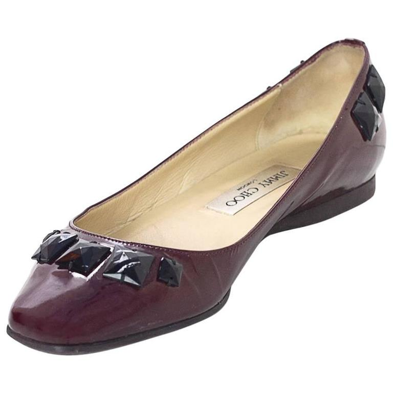 Jimmy Choo Burgundy Patent Leather Flats With Studs Sz 37.5 1