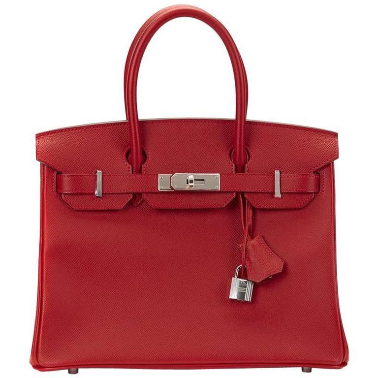 2016 Hermes Rouge Casque Epsom Leather Birkin 30cm