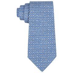 HERMES 5 Fold Cornflower Blue White Diamond Leaf Print Silk Necktie Tie