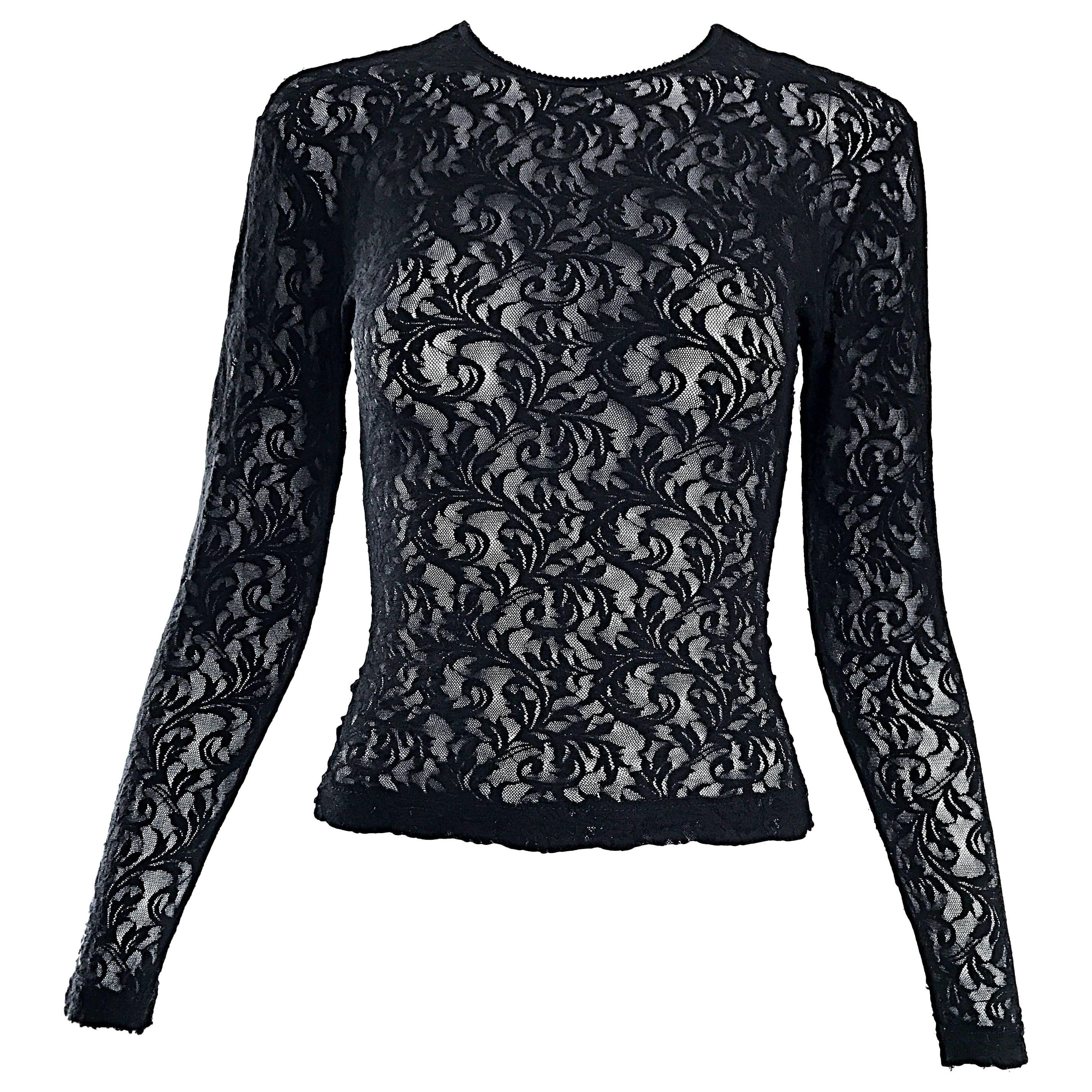 1990s Calvin Klein Black Lace Vintage Bodycon Sexy Sheer 90s Crop Top Blouse