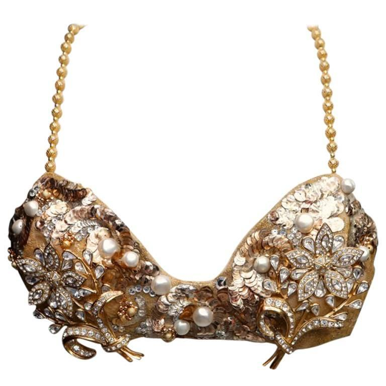 1993 Christian Dior by Ferre Documented Gold-tone Jewellery Bra 1
