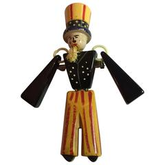 1930s Bakelite Patriotic Uncle Sam Articulated Brooch Pin