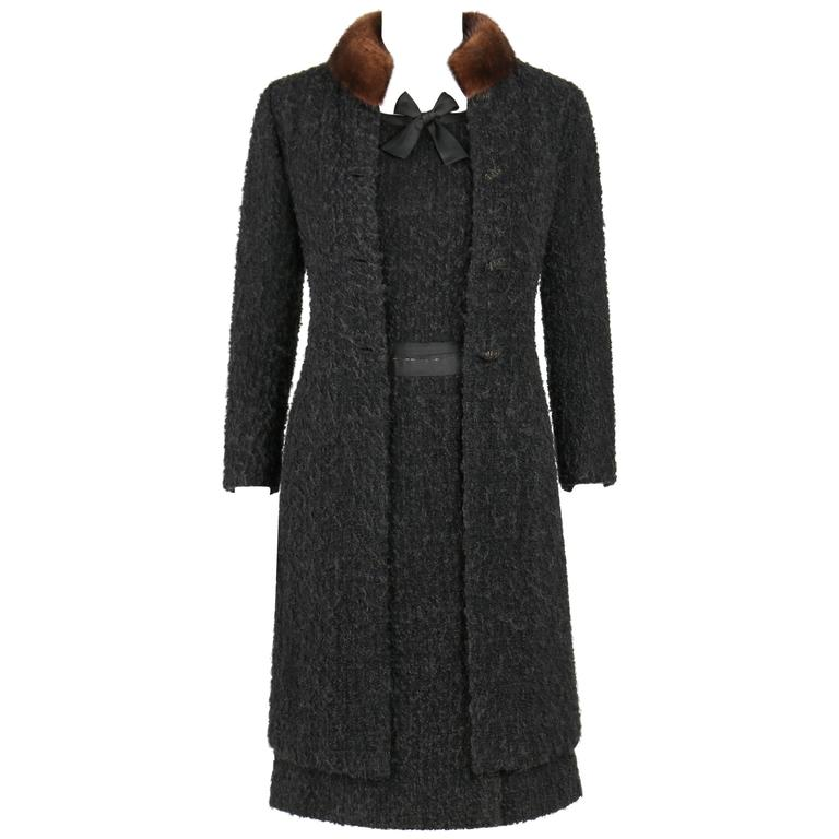 Chanel haute couture black boucle wool mink coat for 1960 s haute couture