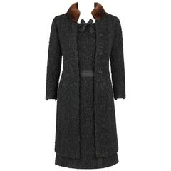 CHANEL c.1960's Haute Couture Black Boucle Wool Mink Coat & Sleeveless Dress Set