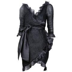 Yves Saint Laurent Haute Couture Textured Chiffon Dress circa 1980s