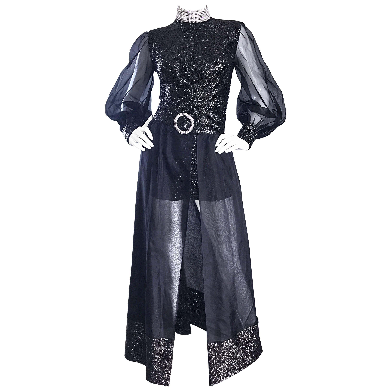 1970s Black Chiffon Lurex Rhinestone Disco Romper and Full Length Ball Skirt