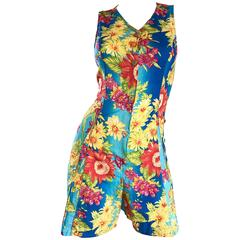 1990s Italian Flower Hawaiian Tropical One Piece Vintage 90s Colorful Romper
