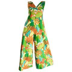 Amazing Vintage 1970s Tropical Hawaiian Print Neon Cotton 70s Jumpsuit
