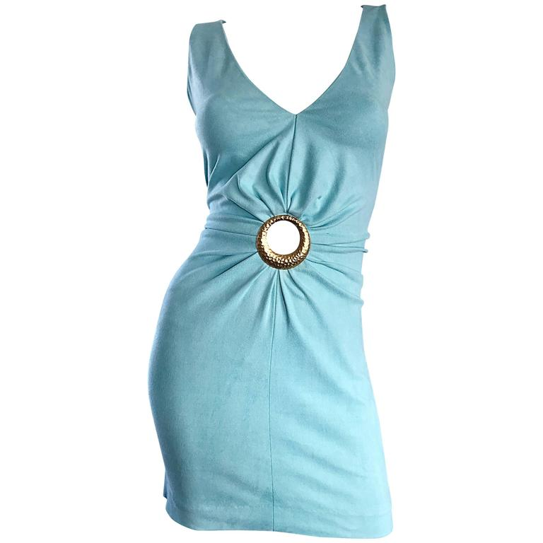 1990s Ikito French Made Robins Egg Blue Acqua Sexy Cut - Out Vintage Mini Dress For Sale