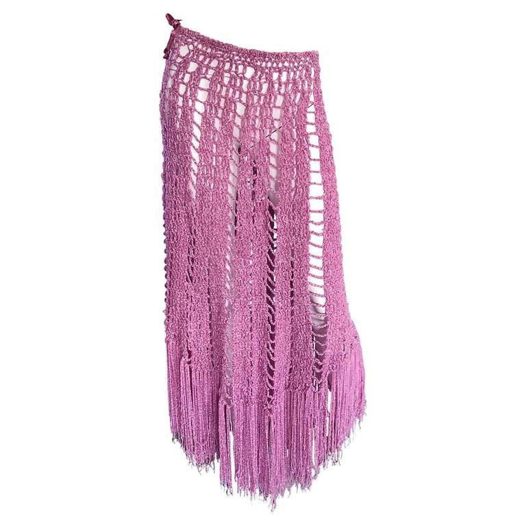 Joseph Magnin 1970s Brand New Pink Vintage Italian Crochet Skirt, Dress or Cape