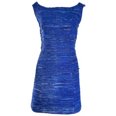 1990s Woven Leather Royal Blue Vinage Sexy Bodycon 90s Couture Mini Dress