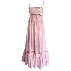 1970s Jay Morley for Fern Viollete Vintage Rose Print Pink + White Maxi Dress