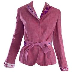 Vintage Moschino Cheap & Chic 1990s Size 12 Pink Beaded Belted Blazer Jacket