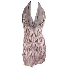 MISSONI Pink & Brown Cowl Neck Halter Top - Small
