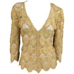 PRADA Size 6 Beige Silk Blend Ribbon Mesh Cardigan Blouse