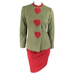 CAROLINA HERRERA Size 4 Green & Red Wool / Cashmere Heart Jacket Skirt Suit
