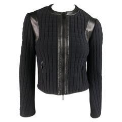 PLEIN SUD Size 4 Black Grid Quilted Leather Trim Moto Jacket