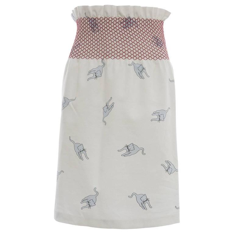 90926193c1e Miu Miu Cotton Skirt With Cat Print And Red Smocked Waist