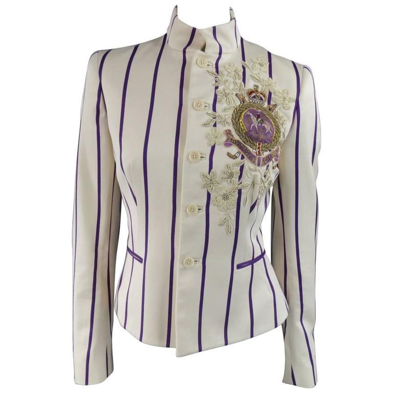 RALPH LAUREN Collection 8 Cream & Purple Striped Embellished Equestrian Jacket