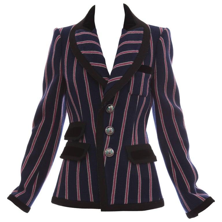 Nicolas Ghesquière for Balenciaga Runway Striped Wool Blazer, Fall 2007 For Sale