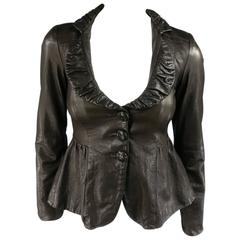 EMPORIO ARMANI Size 2 Brown Textured Ruffle Collar Cropped Leather Jacket