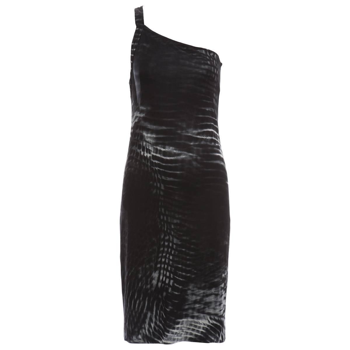 Tom Ford for Gucci Runway Black One-Shoulder Printed Dress , Spring 2000