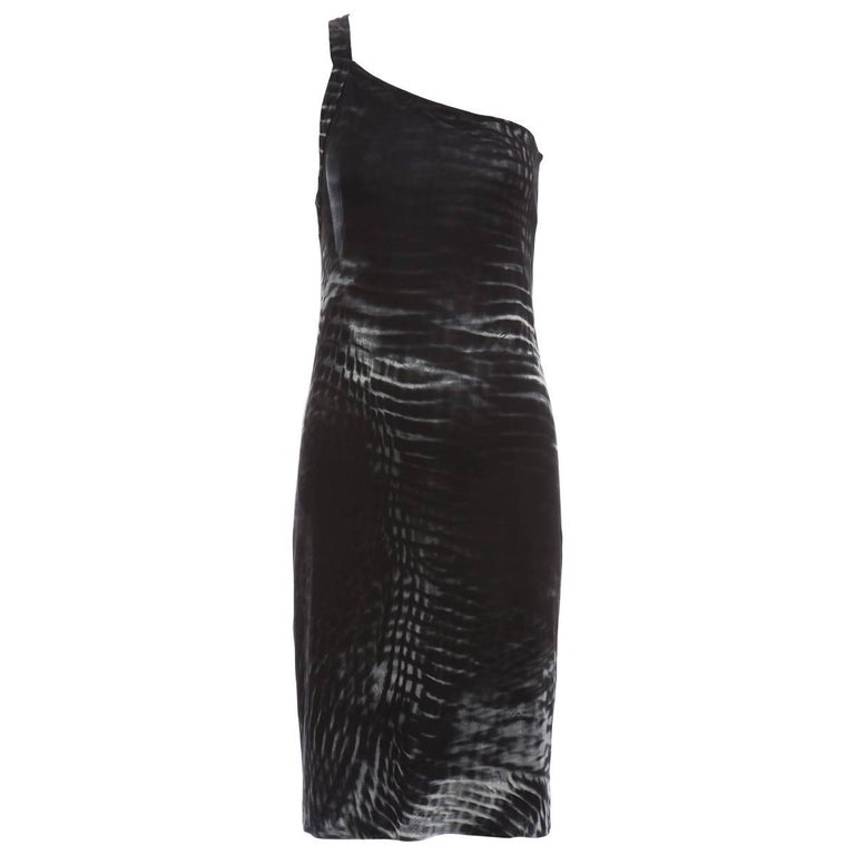 Tom Ford for Gucci Runway Black One-Shoulder Printed Dress , Spring 2000 For Sale