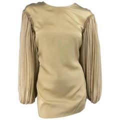 STELLA McCARTNEY Size 8 Beige Silk Blend Pleated Baloon Sleeve Mini Dress
