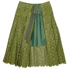 SACAI Size 6 Olive Green Star Lace Forest Pleated Panel A Line Skirt