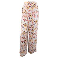 1996 CHANEL Size 8 Light Blue Pink & Yellow Watercolor Floral Wide Leg Pants