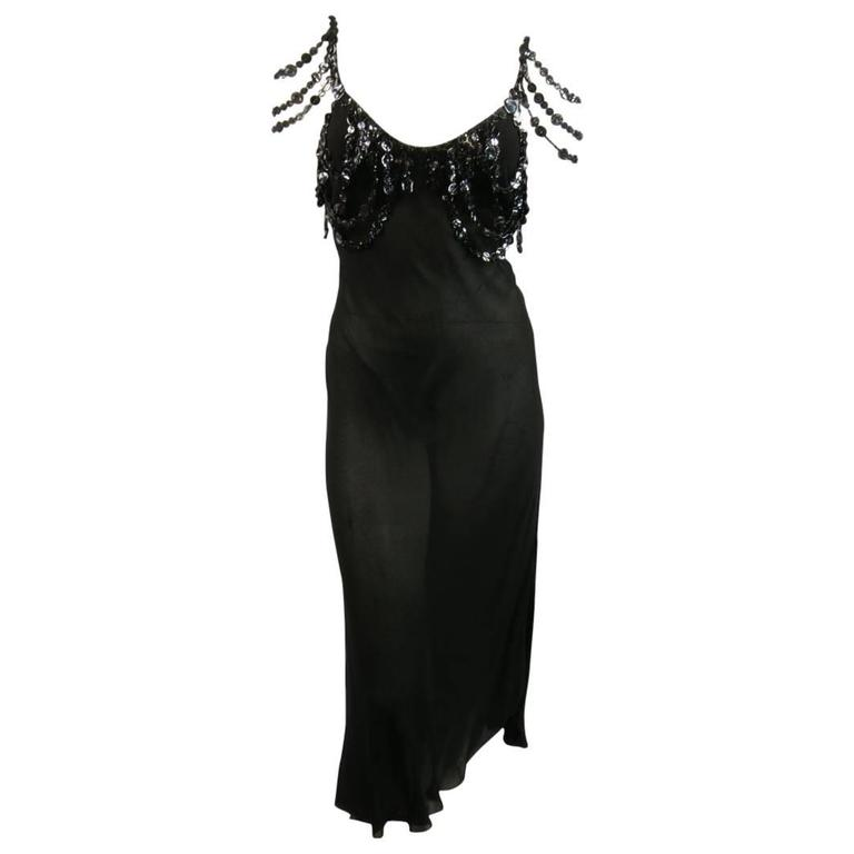 Jean Paul Gaultier Black Sheer Crepe Layered Button Strap Cocktail Dress Size 10 For Sale
