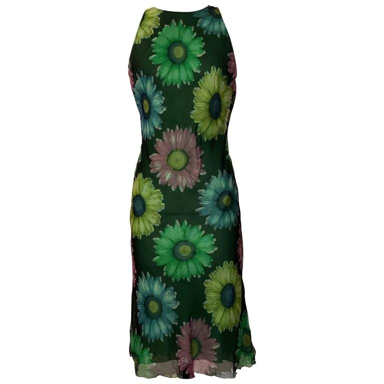 Gianni Versace Couture Green Flower Daisy Fishtail Back Chiffon Dress, 1990s