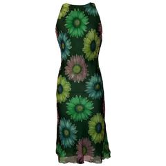 Gianni Versace Couture 1990s Green Flower Daisy Fishtail Back Chiffon Dress