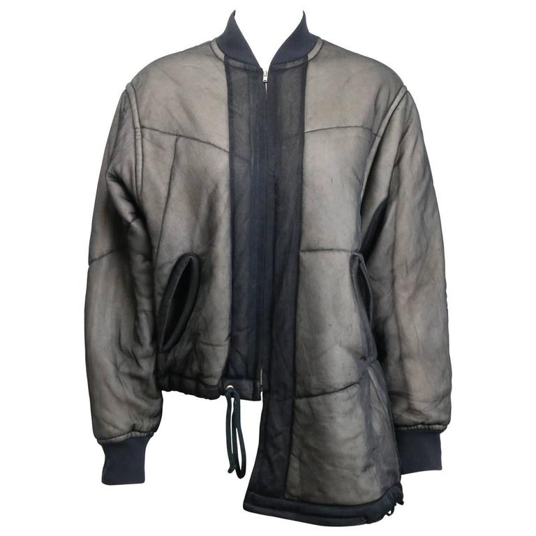 Comme des Garcons Charcoal Grey Asymmetric Deconstruct Bomber Jacket  1