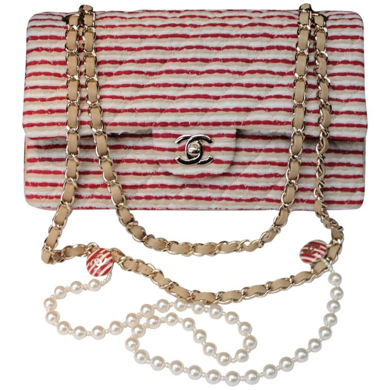 2014 Chanel Timeless White and Red stripes handbag with Faux Pearls Handle For Sale