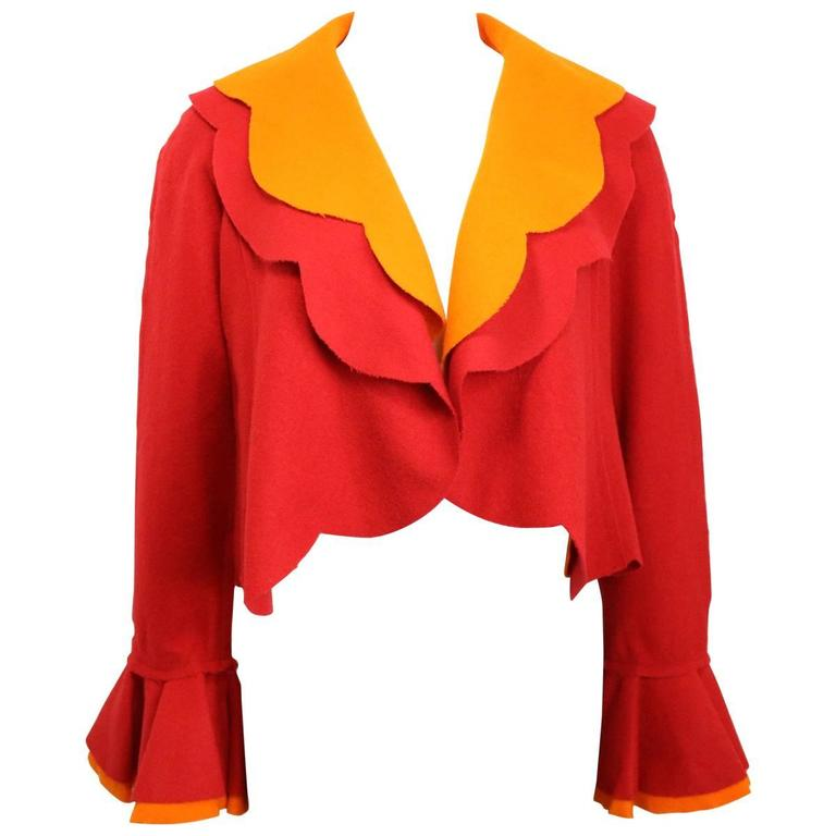 Moschino Couture Red and Orange Wool Cropped Ruffle Jacket