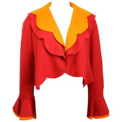 90s Moschino Couture Red and Orange Wool Cropped Ruffle Jacket