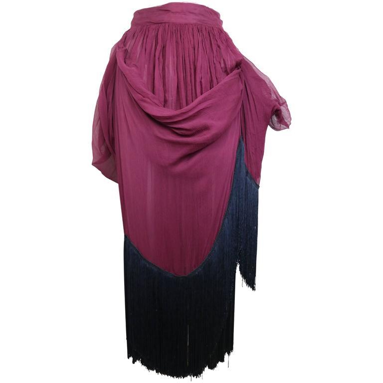 Dolce and Gabbana Maroon Silk Pleated Balloon Fringe Long Skirt