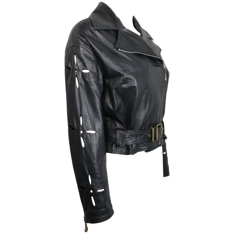 Istante by Gianni Versace Black Leather Biker Belted Jacket with Cutout Sleeves