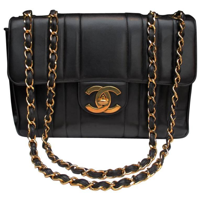 1990s Chanel Black Leather Double Handle Bag For Sale
