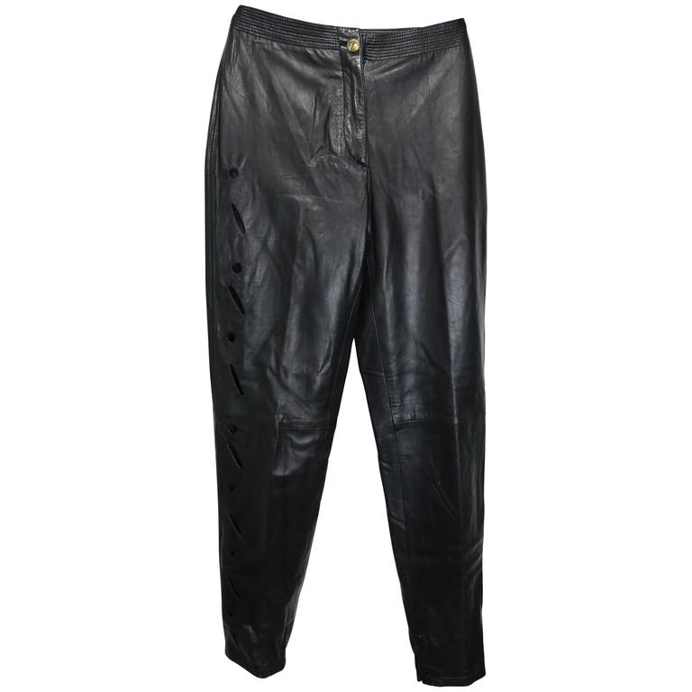 Istante by Gianni Versace Black Leather with Cutout Pattern Pants For Sale