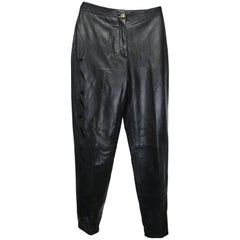 Vintage Istante by Gianni Versace Black Leather with Cutout Pattern Pants
