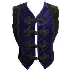 Dolce and Gabbana Colour Blocking Velvet Vest with Knot