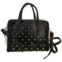 Alexander McQueen Padlock Studded Zip Satchel Bag, Black/White