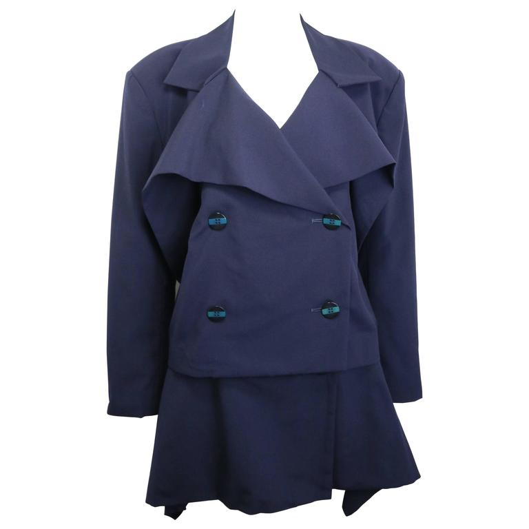Issey Miyake Navy Blue Double Breasted Jacket and Skirt Ensemble